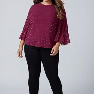 Lane Bryant Dot Ruffle Blouse Size 18/20